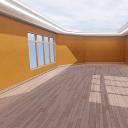 Skybox - Yellow and Light Brown - The Little Room With Ceiling Lamp