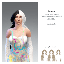 Renne back style-black n white base (the white part  is editable!)