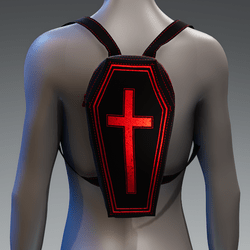 Metallic Coffin Cross Backpack [Red]