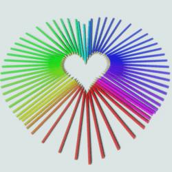 Pride Rainbow Pencil Heart