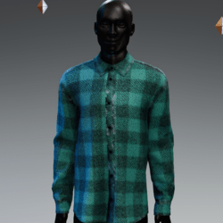 Grunge Plaid Long Buttoned Shirt Aqua