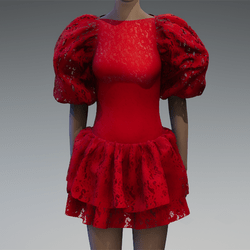 Red lace large puff sleeve dress