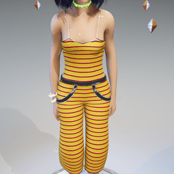 Panamerica Pants-Top Yellow-Red Stripes - Female