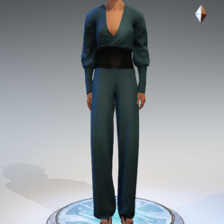 Wrapped Pantsuit - Linen and Leather - Seafoam
