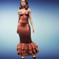 mermaid dress-- sea coral