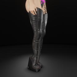 Cyber thigh high heel boots