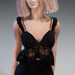 Lace Summer Top in Black