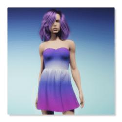 Strapless Sundress - Blue Pink Gradient