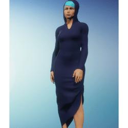 navy hooded dress