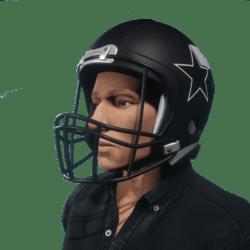 American football black helmet for male