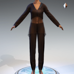 Sheer Tunic Suit - Chocolate Wool