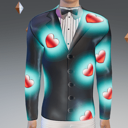 Valentine's Simulated Black Tux Glowing-Animated Hearts - Male