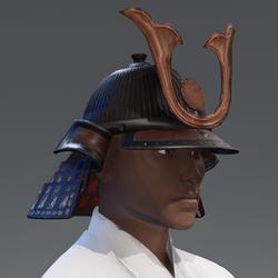 Samurai Helmet - Maroon/Bronze