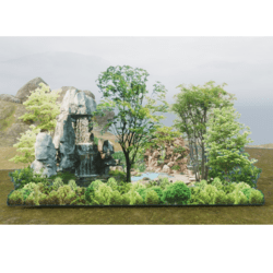 Forrest Privacy Wall with Pond - Land Border - 2D Model - with trancparency