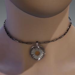 Resin daisy necklace