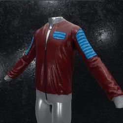 Leather Jacket Ron dark red blue