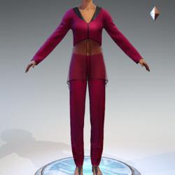 Sheer Tunic Suit - Raspberry Wool
