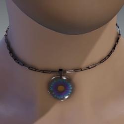 Blue & violet resin daisy necklace