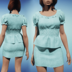 Polka Dot Skirt and Top - Teal