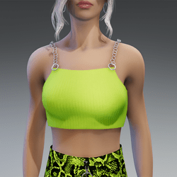 90s Vibes Top with Chains in Yellow-Green