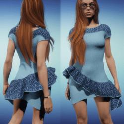 Asymmetrical Boat Neck Dress- Denim