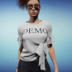 Knit Top with Bow Accent - DEMO