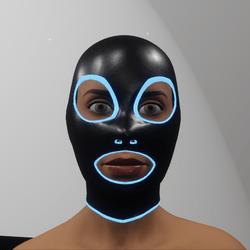 TKA Black leather mask & blue emissive