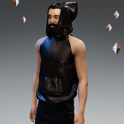 'Headspace' Faux Leather (Σ) Sleeveless Hoodie - Unisex