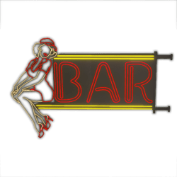 Animated Red Neon Bar Pin up