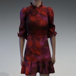 Ruffle nature print dress
