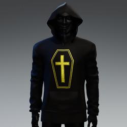Unisex Coffin Cross Hoodie [Yellow]