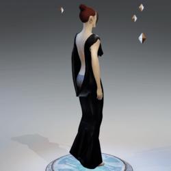 Elegant Extremely Low Back Dress BLACK