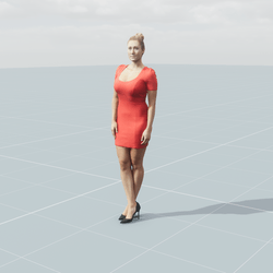 Rosy woman standing 3D scan static model