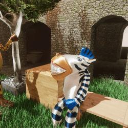 Zebra Animated Sitting on Bench
