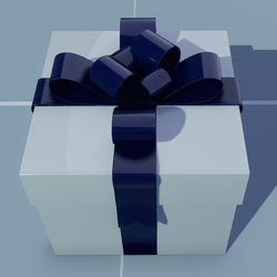 Gift Square with Blue Bow