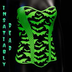 Halloween Bat Fishnet Corset [Green]
