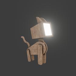 Cat Lamp in wood