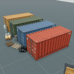 Animated Shipping Container Set