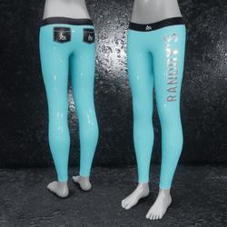 Leggings Latex metallic blue