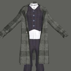 Pantssuit with Tweed Trenchcoat
