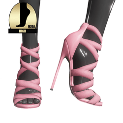 Strappy stiletto sandals for h2ai high - pink