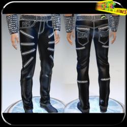 Punk Rock Chaos Black Leather Pants 14 Zippers - Male