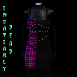 Pentagram Strapped Dress Tartan [PINK]