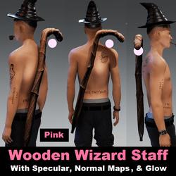 Wooden Wizard Staff -  Pink Orb