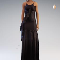 Spaghetti Gathered Gown - Black Chiffon