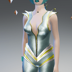 Futuristic Vigent Blue-Carbon Suit - Female