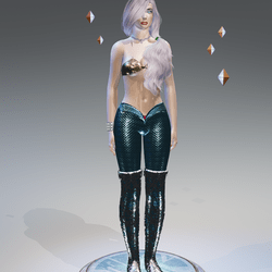 Blue-1Tone Mermaid Leggings - Female