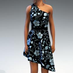 Shoulder Strap Dress in Painted Garden - Ice