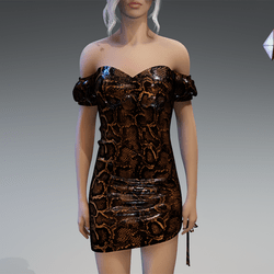 Plastic Snake Dress in Classic Brown
