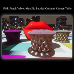 Pink-Peach Velvet-Metallic Padded Ottoman Corner-Table